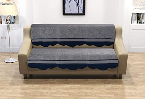 FESTIVAL HOME FURNISHINGS Cotton Fabric Net Sofa Covers for 3 Seater Sofas| Color- Grey |