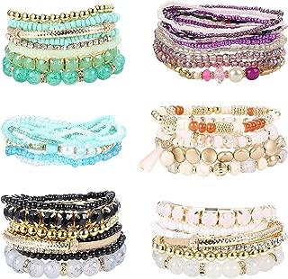 6 Pack Bohemian Stackable Beaded Bracelets for Women Stretch Bangles Multilayer Stacking Bracelet Set