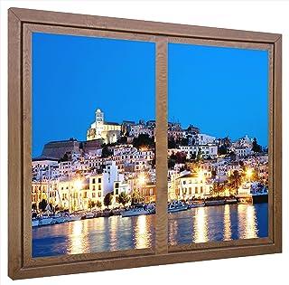 CCRETROILUMINADOS Ibiza Ventanas Falsas Cuadros Decorativos con Luz, Metacrilato, Nogal, 80 x 80 x 6.5