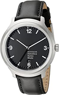 Mondaine Helvetica No1 B Wrist Watch (MH1.B1220.LB) Swiss Made, Black Leather Strap, Silver Stainless Steel Case, Black Face, White Hands and Numbers