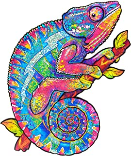 Unidragon Wooden Puzzle Jigsaw, Best  Adults and Kids, Unique Shape Jigsaw Pieces Iridescent Chameleon, 10.2 x 13 inches, ...