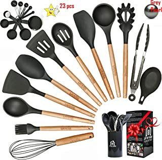 23pcs Silicone Cooking Utensil Set -Silicone Kitchen Utensil Set -Kitchen Utensil Set Silicone with Holder and Spoon Rest- Silicone Utensils for Nonstick Cookware-Best Silicone Spatula Set Gift-Grey