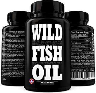 Wild Fish Oil Triple-Strength Omega 3 with Triglyceride DPA DHA & EPA | Burpless, Non-GMO, Gluten-Free & Purity-Tested - N...