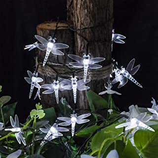 shinymolly Solar Powered String Lights, 2 Pack 30L Cute Dragonfly LED Lights, 21FT 8 Modes Starry Lights, Waterproof Fairy...