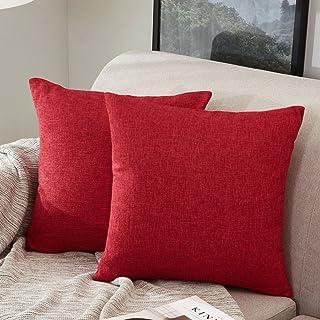 MERNETTE New Year/Christmas Decorations Cotton Linen Blend Decorative Square Throw Pillow..