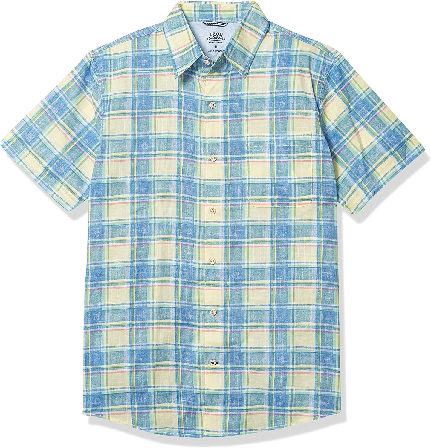IZOD Men's 70% OFF Outlet Saltwater Dockside Chambray Sleeve Down Short Button Industry No. 1