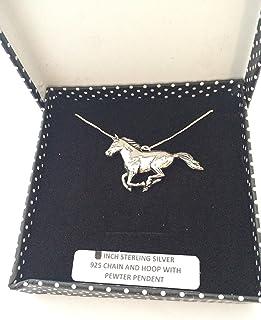Prideindetails - Colgante de plata con diseño de caballo, cadena de 45 cm