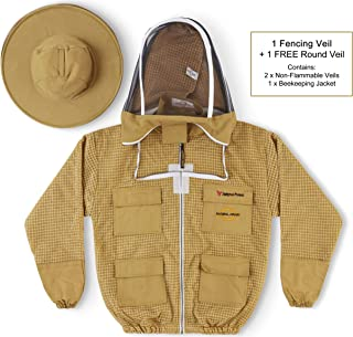 Natural Apiary Zephyros Protect 3 Layer Ventilated Jacket Suit Outfit with 2 x Non-Flammable Veil Mesh (Round & Fencing) Beekeepers Stay Ultra Cool & Protection from Bees & Wasps, Khaki