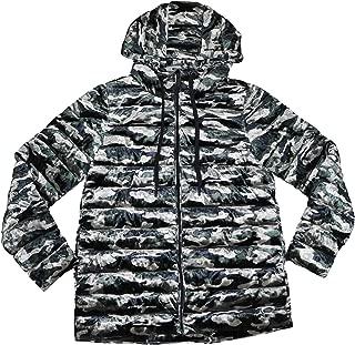 DKNY Sport Quilted Hooded Velvet Camouflage Print Long Sleeve Coat