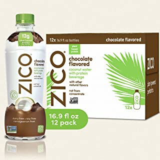 Zico Chocolate Flavored Coconut Water with Protein Beverage, 16.9 Fluid Ounce (Pack of 12)