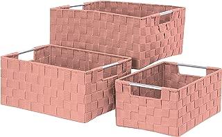 Elaine Karen Deluxe Woven Strap Storage Tote Shelf Basket Bins - 3pc Set - Pink