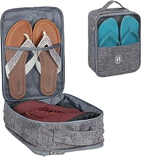 Relaxdays Skoväska för resor, för vagn, transport skor, tofflor, sneakers, skoförvaring HxBxD: 30 x 23 x 14 cm, grå, 1 st