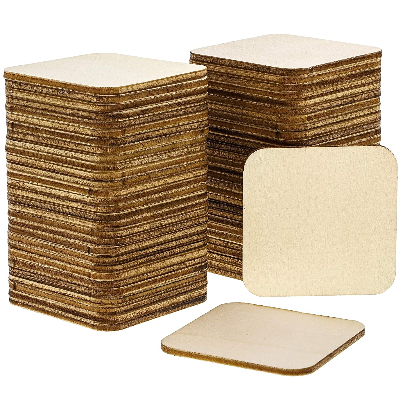 Bright Creations 60-Pack Unfinished Wood Square Tile Cutouts for DIY Crafts, 2 x 2 Inches