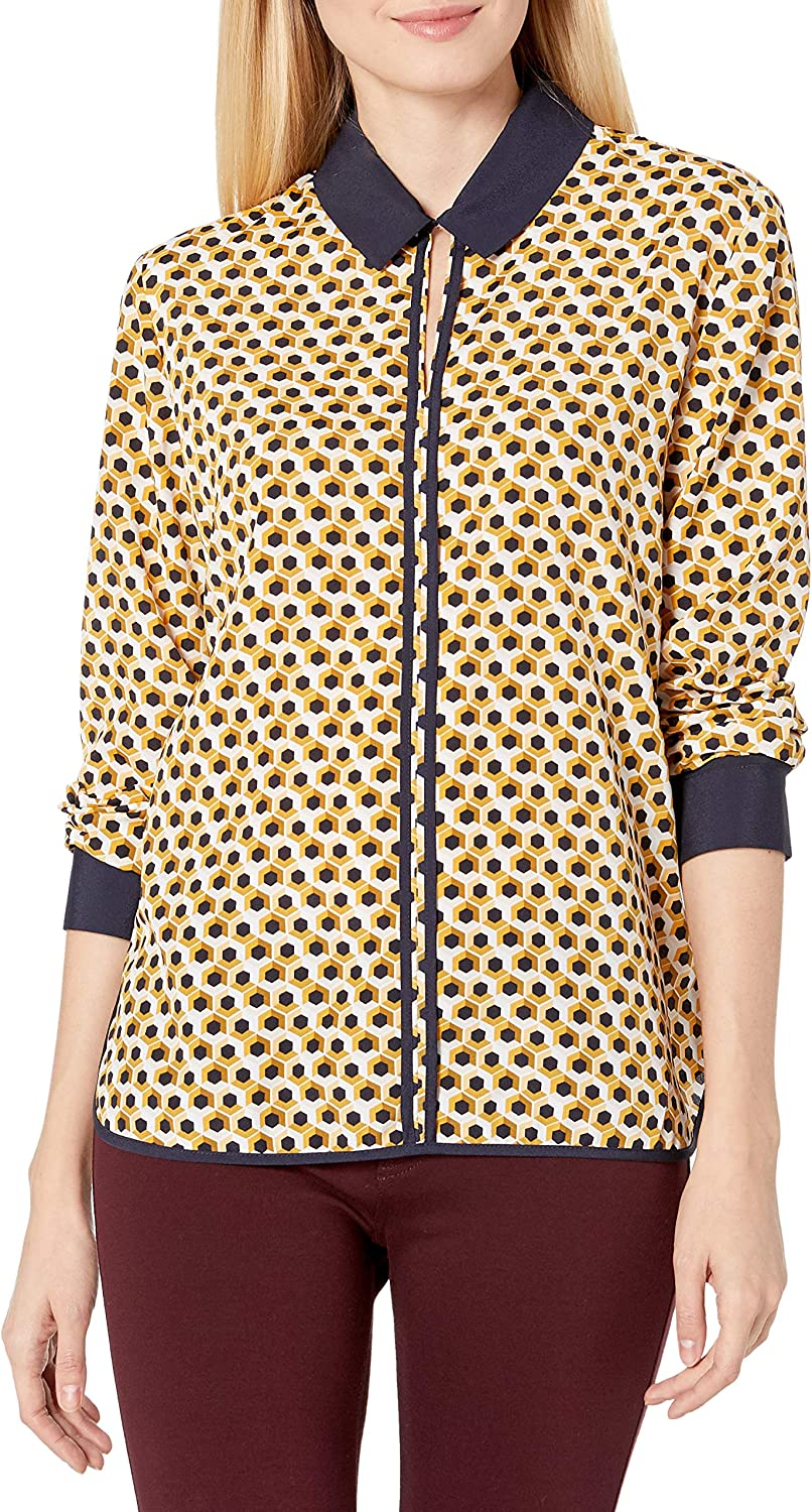 Tommy Hilfiger Women's Piped Button Down Long Sleeve Woven Top