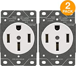 ENERLITES 50 Amp Receptacle Outlet | NEMA 14-50R, for Electric Vehicles, Welding, Electrical Ranges, Indoor/Outdoor, 3-Pole, 4 Wire (8, 6, 4 AWG) | 125/250V, 66500-W, 2 Pack - White