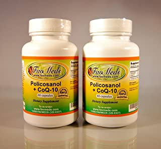 Policosanol + Coq10, Polycosanol, Cholesterol Aid, Heart Health, Made in USA - Various Sizes (2 Bottles - 120 [2x60] Capsu...