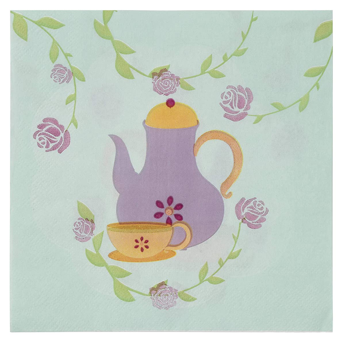 Cocktail Napkins - 150-Pack Luncheon Napkins, Disposable Paper Napkins Kids Birthday Party Supplies, 2-Ply, Garden Tea Party Design, Unfolded 13 x 13 Inches, Folded 6.5 x 6.5 Inches