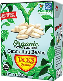 Jack's Organic Cannellini Beans – Packed with Protein & Fiber, Heart Healthy, Low Sodium, Non GMO, BPA Free, Ready-to-eat, 100% Sustainable Packaging, Easy Open Tearstrip, [8 Pack of 13.4oz cartons]