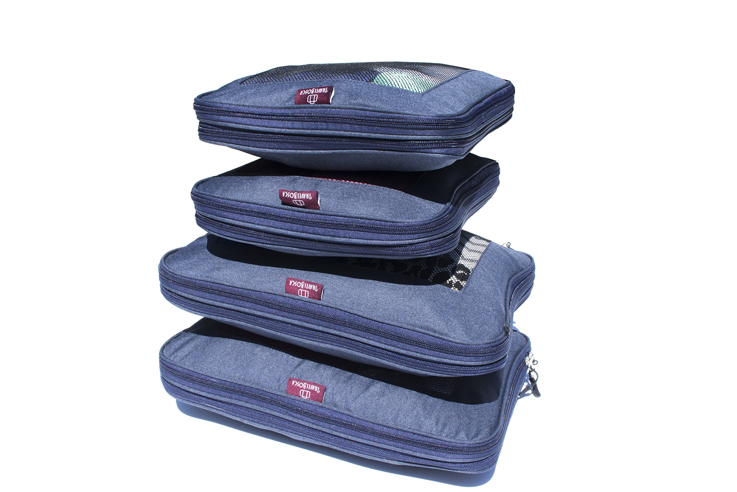 Color Grey Set of 6 LeanTravel Compression Packing Cubes Luggage Organizers for Travel with Double Zipper