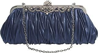 PULAMA Elegant Envelope Clutch Satin Purse Wallet with Vintage Decoration