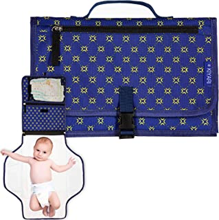 Portable Diaper Changing Pad with Head Pillow - Foldable Travel Diaper Station - Replaces Heavy Diaper Bag - Baby Shower Gift Registry Must Have (Blue)