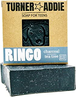 Turner and Addie Ringo Charcoal Face & Body Soap Bar | Natural Soap for Teens with Tea Tree Essential Oils ...