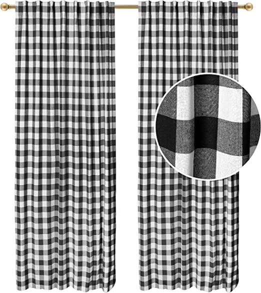 Pale Light Bella Pink White Buffalo Check Plaid Curtains 84 96 108 or 120 Long by 24 or 50 Wide Optional Blackout Lining Grommet
