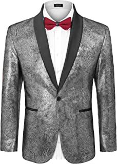 COOFANDY Men's Fashion Suit Jacket Blazer One Button Luxury Weddings Party Dinner Prom Tuxedo Gold Silver