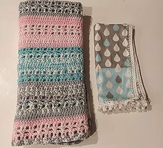 ATELIE ALAIA Manta para bebé y muselina, hecha a mano, mantas para bebé, mantas de crochet muy suaves para bebé.