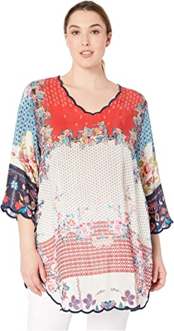 Plus Size Mixed Print Blouse