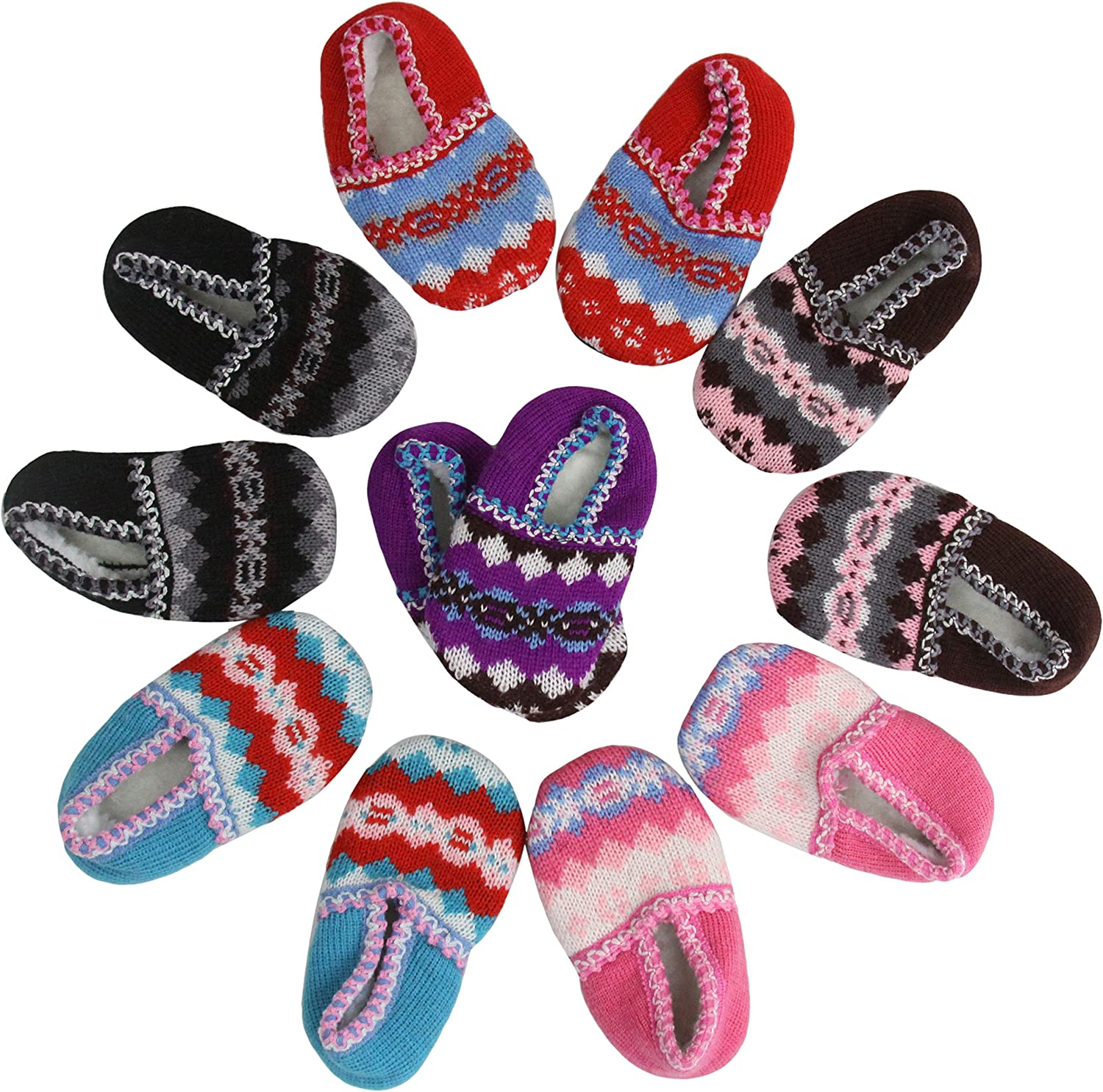ToBeInStyle Baby Girls' Pack of 6 Knit Vibrant Color Slipper Shoes