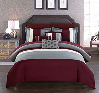 Chic Home Ayelet 10 Piece Comforter Set Color Block Ruffled Bag Bedding, Queen, Burgundy