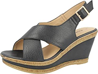 5db066146675 Ladies Cushion Walk Wide E Fit Leather Lined Wedge Peep Toe Strappy Summer  Sandal Size 3