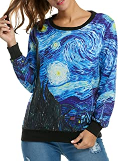 ACEVOG Women's Long Sleeve Pullover Hooded Cute 3D Galaxy Printing Sweatshirts Casual Loose Hoodie Tunic Top
