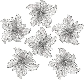 iPEGTOP 10.2 Inch Glitter Poinsettia Christmas Flowers with Metal Clip Christmas Tree Ornaments Artifical Wedding Holiday Decorations 6 Pack (Silver)