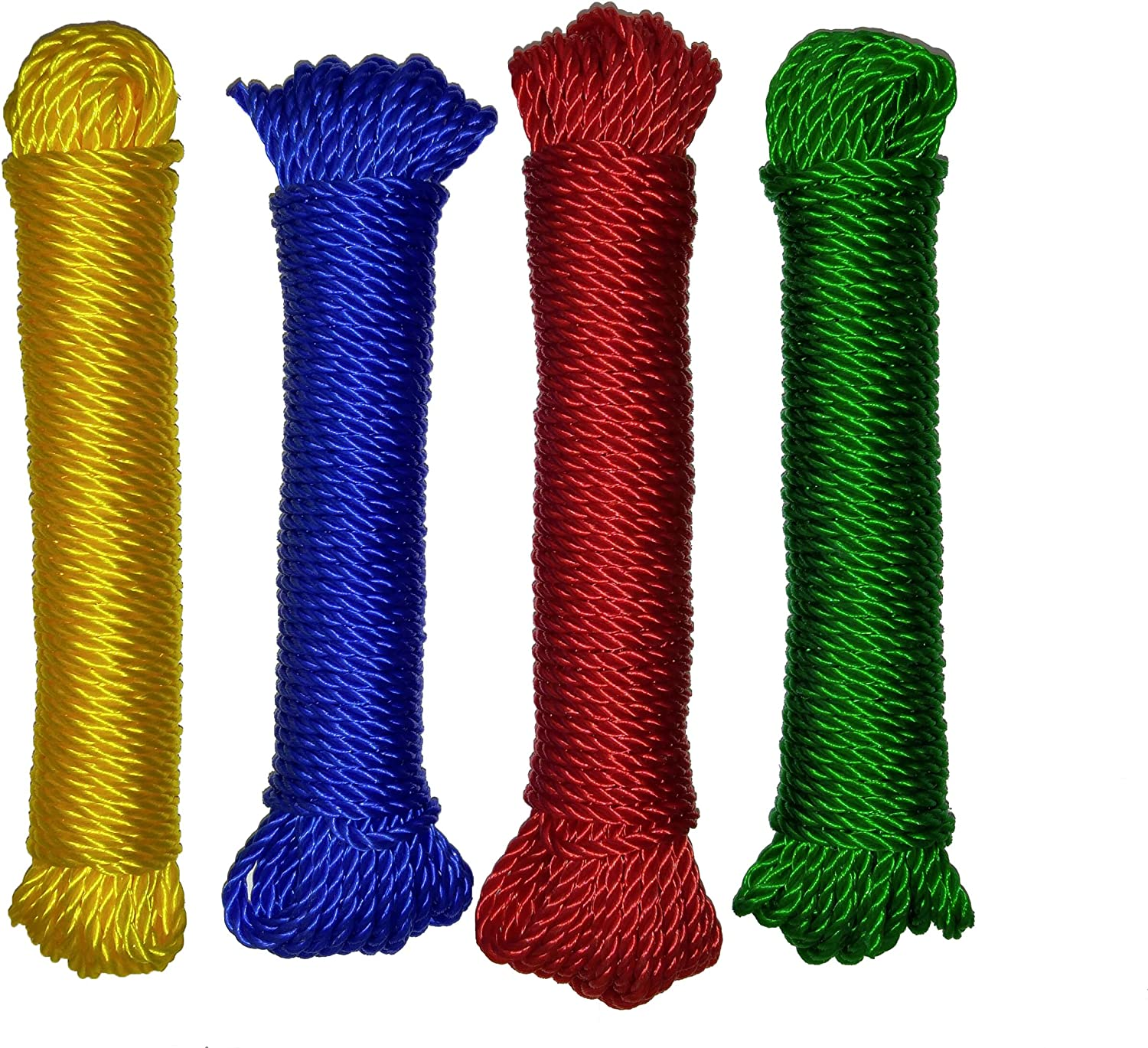 Set of 4 Twisted 5//32 x 50 Polypropylene All Purpose Floating Rope in 4 Colors 5//32 Set of 4