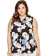 Vince Camuto Specialty Size - Plus Size Sleeveless Poetic Bouquet Invert Pleat Blouse
