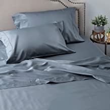 Welhome King Size Cotton Tencel Sheet Set - 4 Piece - Soft & Smooth - Breathable - Durable - Deep Pocket - Easy Fit - Flint Blue