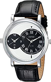 August Steiner Men's Classic Dual Time Dress Watch - Silver Case around Textured Monochrome Dial with Roman Numeral Hour Markers on Black Genuine Leather Alligator Strap - AS8146