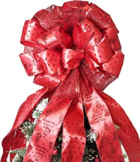 Flash World Christmas Tree Topper,27x12 Inches Large Toppers Bow with Streamer Wired Edge for Christmas Decoration (Large Red Big)