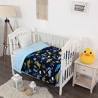 Elegant Home Kids Soft & Warm Multicolor Fun Dinosaurs Design Sherpa Baby Toddler Boy Blanket Printed Borrego Stroller or ...