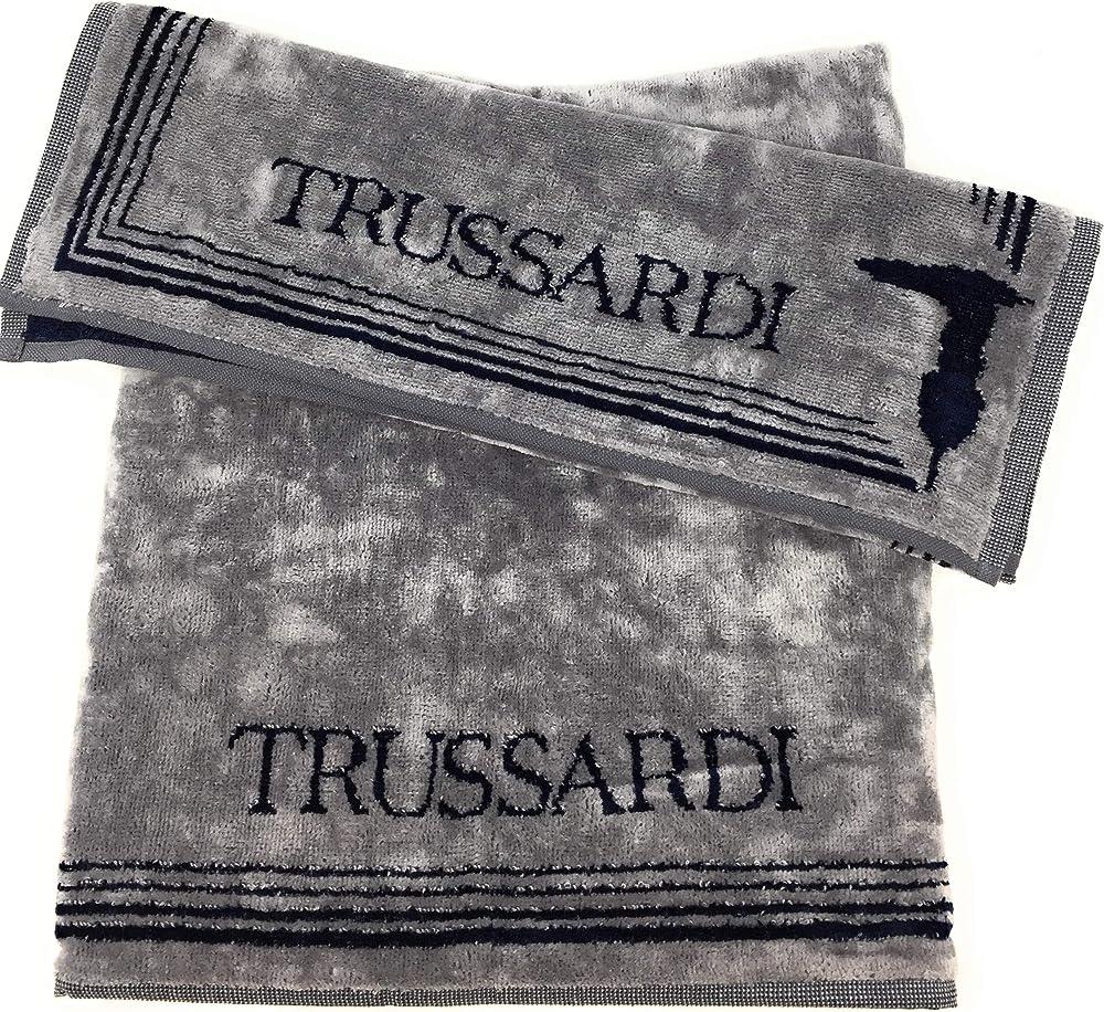 Trussardi home linen, coppia di asciugamani art frame, in velour e spugna idrofila all`interno, 100% cotone Grey 001