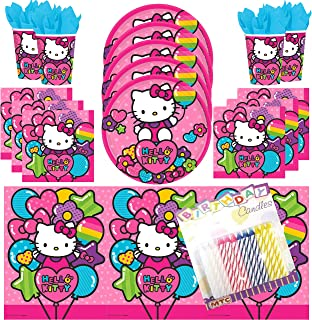 Rainbow Hello Kitty Party Supplies Pack Serves 16: Dessert Plates, Napkins, Cups, Table Cover and Birthday Candles