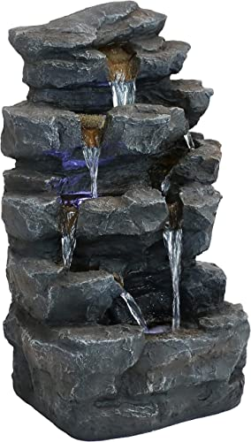 high quality Sunnydaze Grotto Falls Outdoor Water online Fountain with LED Lights - Small Polyresin Zen wholesale Waterfall Feature for Lawn, Garden or Patio - Corded Electric - 24-Inch online