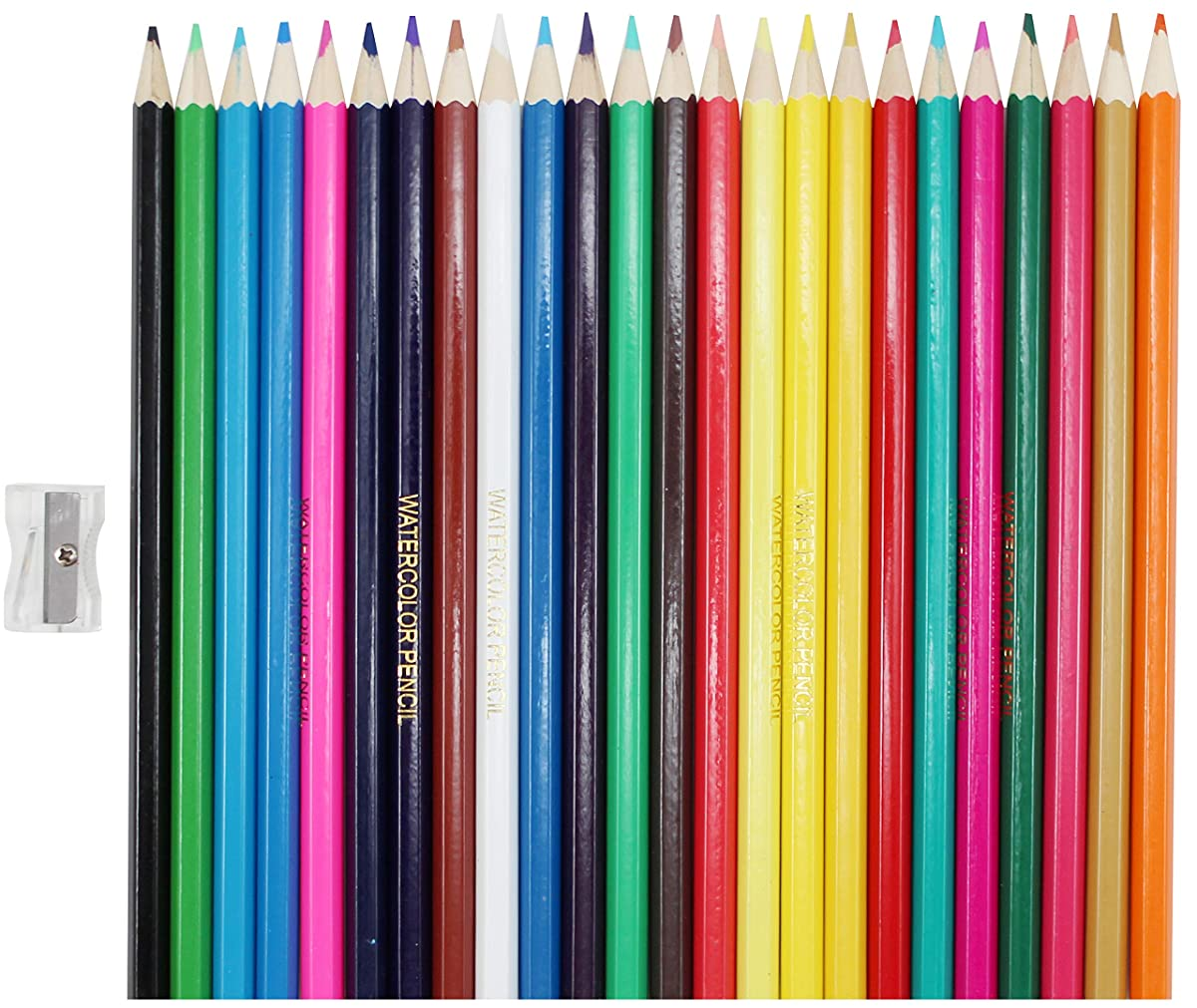 24 Watercolor Pencils with Free Pencil Sharpener Included