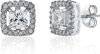Montage Jewelry Women's Sterling Silver & Cubic Zirconia Square Stud Earrings