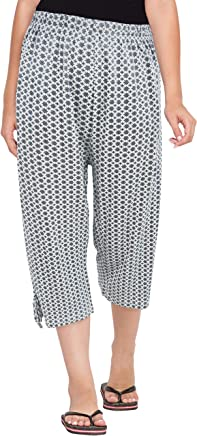 Fflirtygo Women's Comfort Capri, Night Pyjamas for Women, Night Dress, Lounge Wear, Multi Color Printed 3/4 Pyjama,–Soft Cotton Night Wear