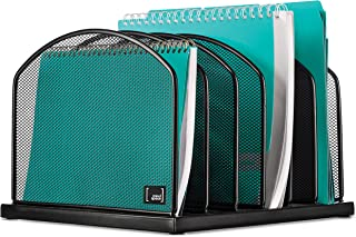 Desktop File Organizer Sorter by Mindspace with 6 Vertical Compartments, Mesh File Office Organizer   Paper Work Divider   The Mesh Collection, Black