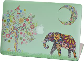 Macbook Pro Retina 13 inches Rubberized Hard Case for model A1502 & A1425, Cas Graphique Moon Elephant Design with Green Bottom Case, Come with Keyboard Cover