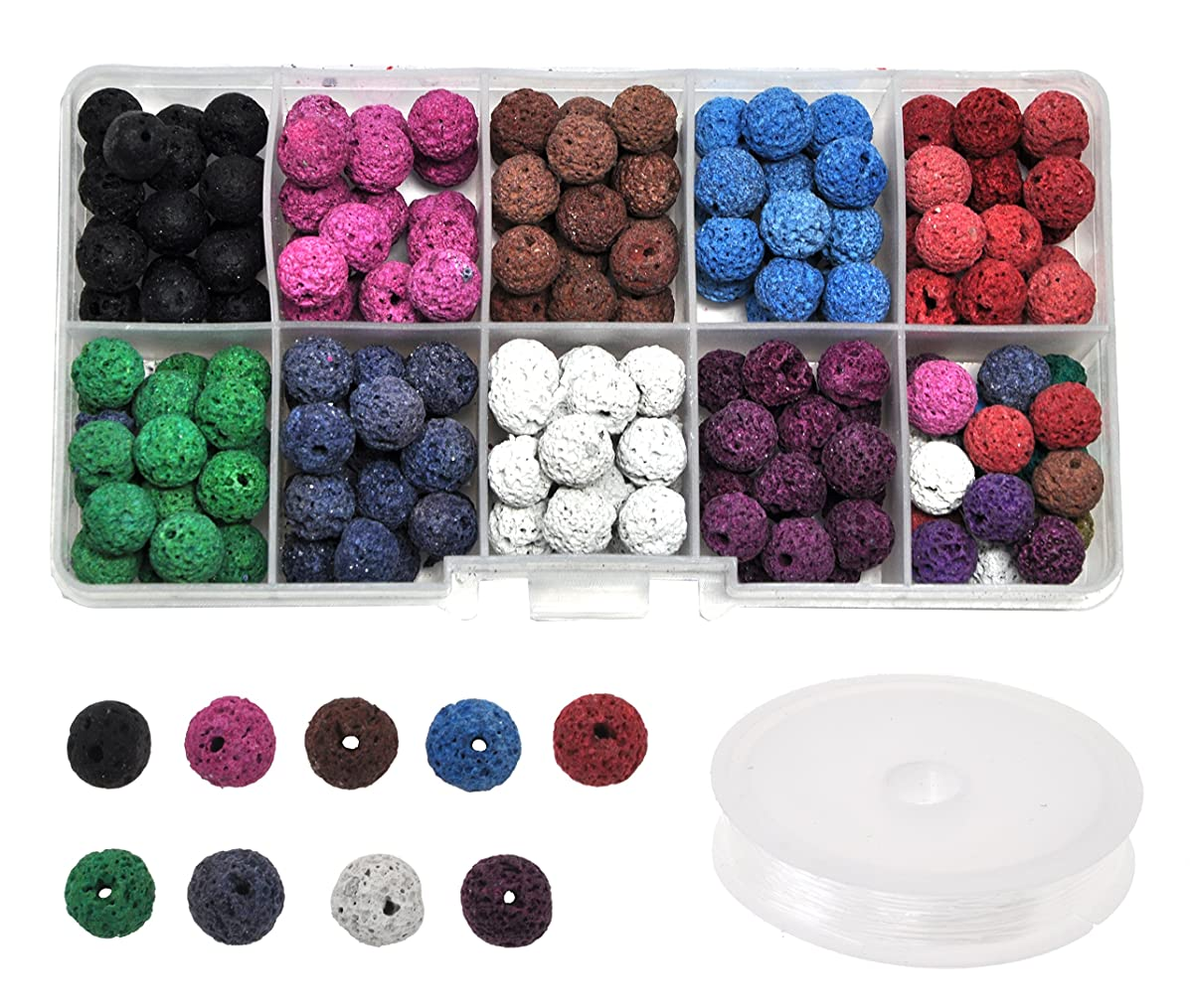 Mandala Crafts Loose Volcanic Rock Lava Bead Kit for Making Essential Oil Diffuser Jewelry, Necklaces, Bracelets, and Rosary Malas (8mm, Unwaxed Colored Stones)